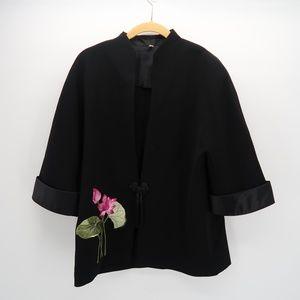Women's Black Floral Print Rolled Cuff Blazer XL